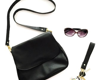 Black Leather Satchel Crossbody Bag