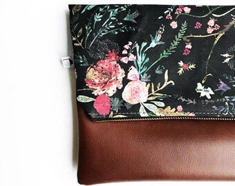 Floral Clutch, Floral Handbag, Fold Over Clutch, Flowers, Flower Purse, Bridesmaid Gift, Gift for Her, Floral Fold Over Clutch, Black Floral
