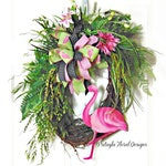 Flamingo Wreath, Summer Front Door Wreath, Summer Door Decor, Flamingo Colorful Wreath, Door Decoration