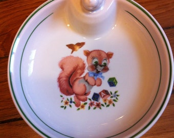 Vintage French porcelain baby or child plate with stopper