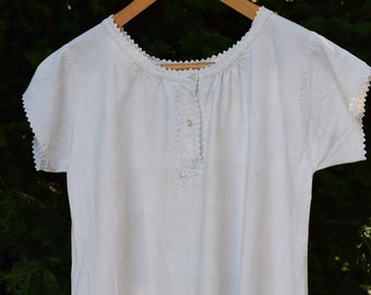 French vintage handmade metis nightdress with monogram size S - M