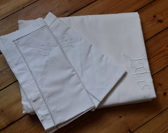 Antique French white cotton monogrammed sheet and 2 pillowcases