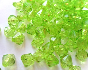 Spring Green 8mm Acrylic Faceted Bicone Beads     -C2B2-1