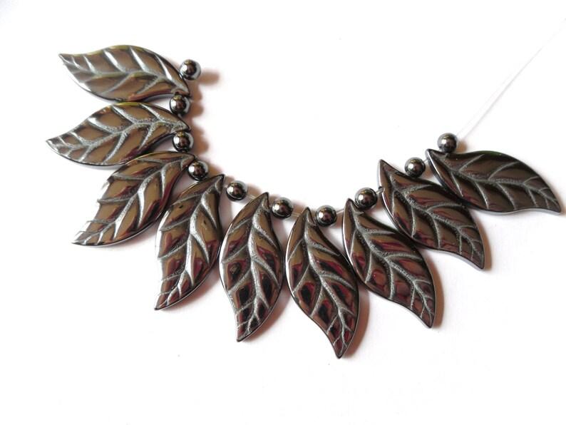 Carved Black Hematite Gemstone Leaf Pendant Set B1C3-2