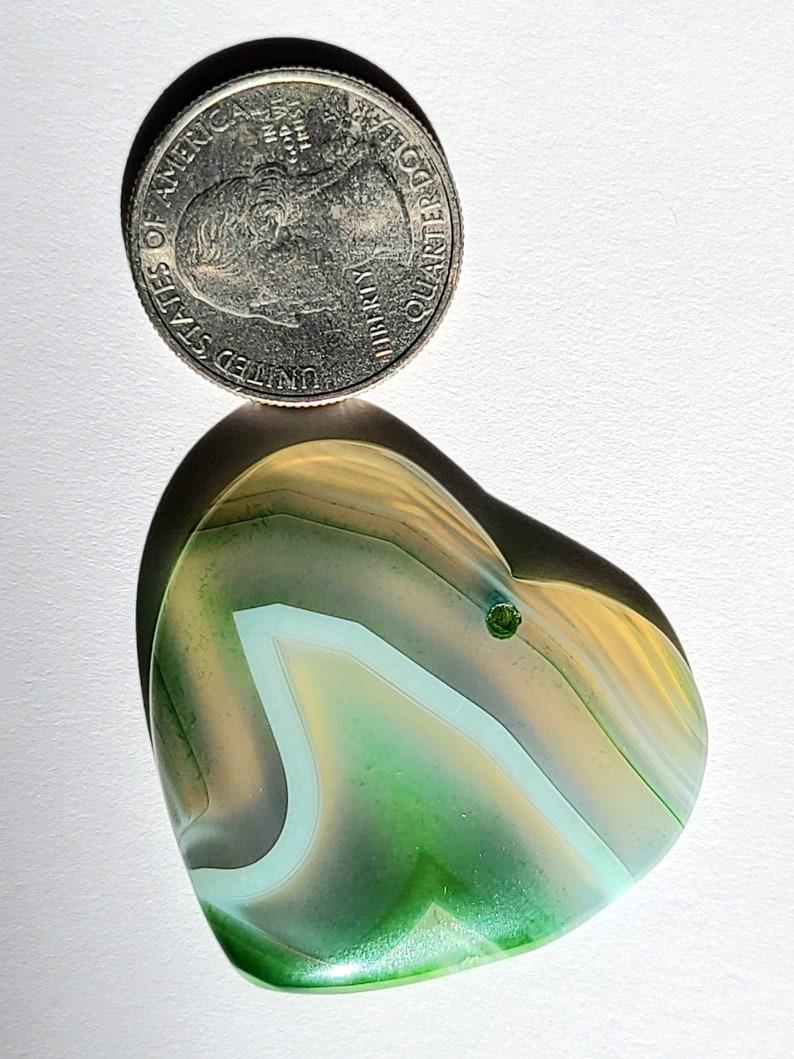 Green /& White Striped Heart Shaped Onyx Agate Pendant 38x42x5mm YT512