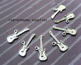 10 One Sided Antiqued Silver Guitar Charm Pendants 26x10mm    -A4A2-3