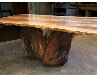 Items Similar To Live Edge Mesquite Dining Table With Turquoise