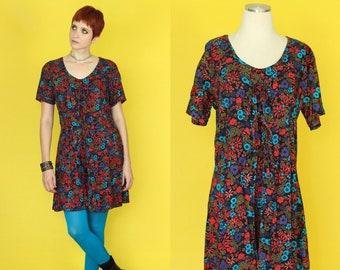 5c6a59e9b5f8 Vintage 90s Romper - Shorts Jumpsuit - Dark Floral Romper - Tie Front Dress  - Culotte Jumpsuit - 90s Floral Dress Skort - Womens Playsuit