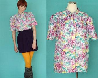 Vintage 80s Secretary Blouse - Bow Blouse - Tie Neck Blouse - Short Sleeve Blouse - Floral Blouse - Plus Size Blouse - Colorful Blouse