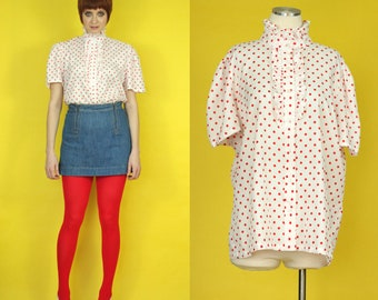 Vintage 80s High Neck Blouse - Ruffle Neck Blouse - Red and White Polka Dot Blouse - Short Sleeve Secretary Blouse - XL - Plus Size Vintage