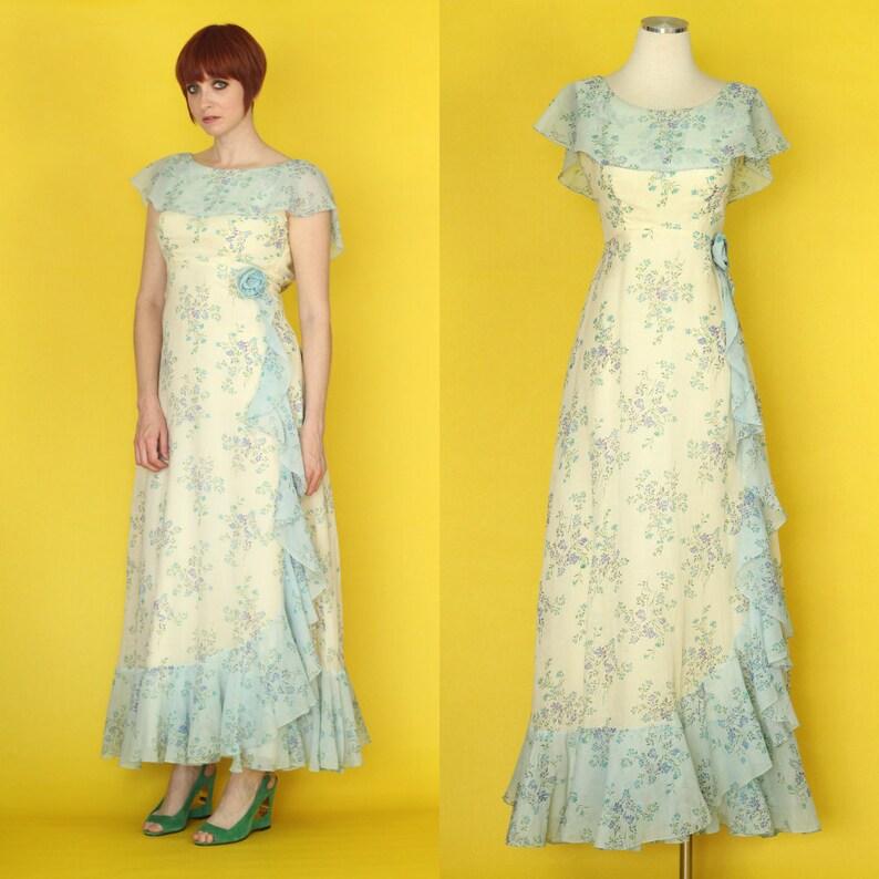84627944546 Vintage 70s Bridesmaid Dress Summer Formal Dress Maxi