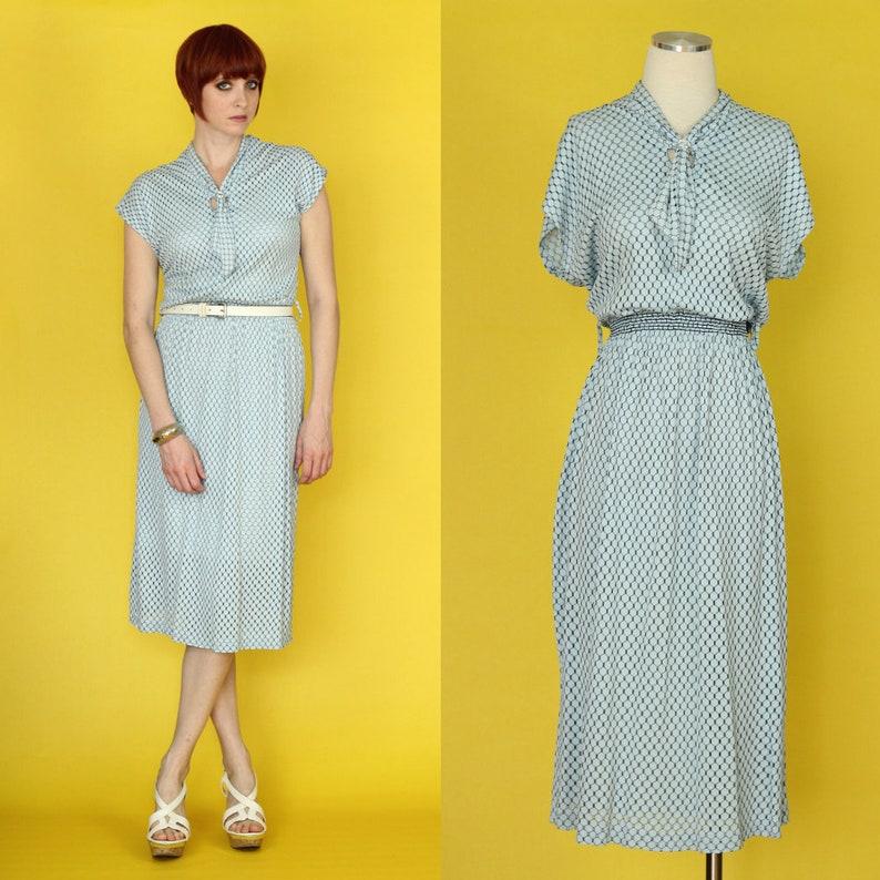 pretty nice 87e54 7a038 Abito vintage anni ' 60 - Light Blue Dress - abito blu pastello - puro  Dress - cravatta collo abito - abito estivo - occhiello vestito -  dimensione ...