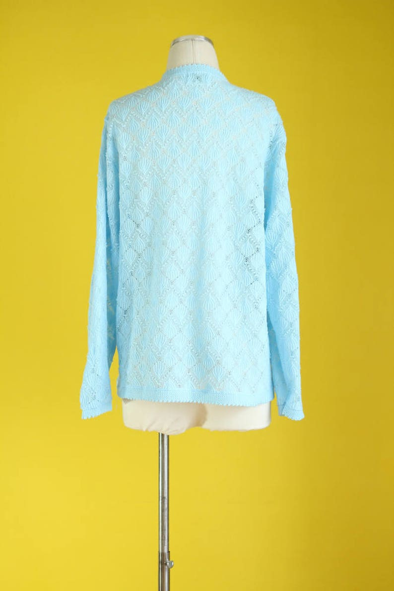 Button Down Open Knit Sweater Light Blue Cardigan Vintage 60s Cardigan 60s Sweater Pastel Blue Mod Sweater Size Medium  Large