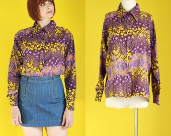 Vintage 70s Floral Blouse - Purple and Yellow Floral Blouse - Psychedelic Blouse - Hippie Blouse - Long Sleeve Blouse -  Size Large
