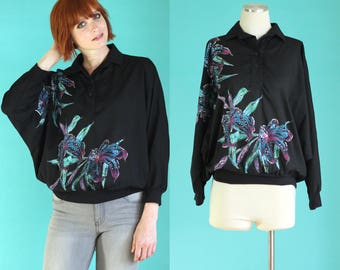 Vintage 80s Glitter Shirt - Black Shirt - Floral Shirt - Batwing Sparkly Dolman Sleeve Top - Polo Shirt - Long Sleeve Shirt Size Med / Large