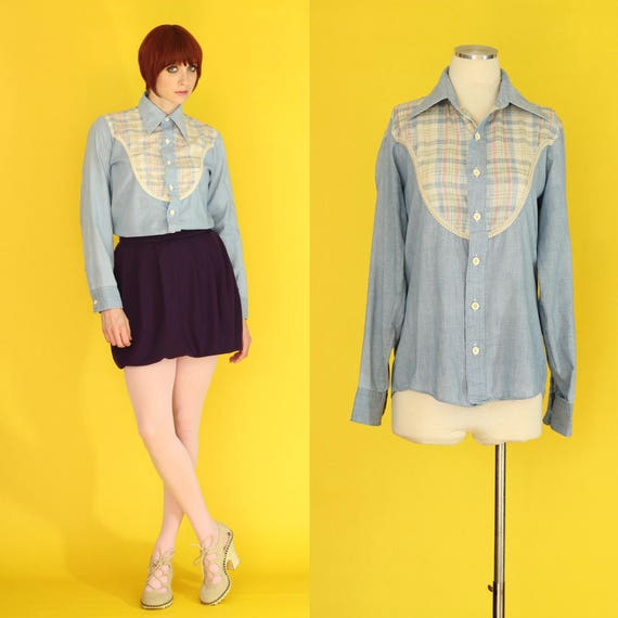 Vintage 70s Denim Shirt - Chambray Shirt - Pastel