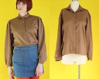 Vintage 70s Levis Blouse - Multicolor Polka Dot Blouse - Brown Shirt - Levis Shirt - Levi Strauss Long Sleeve Secretary Blouse - Size Medium