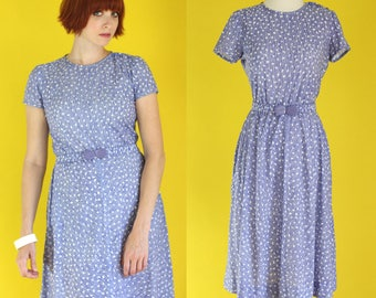 Vintage 80s Summer Dress - Blue and White Dress with Pockets - Striped Dress - Polka Dot Dress - Cotton Dress - Knee Length Dress - Size Med