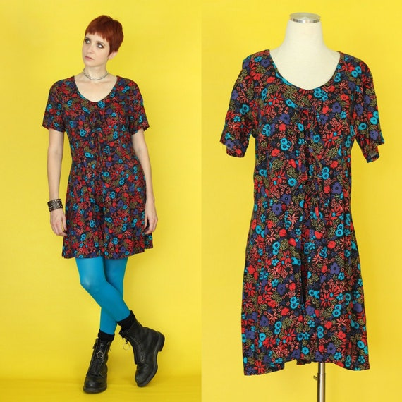 Vintage 90s Romper - Shorts Jumpsuit - Dark Floral