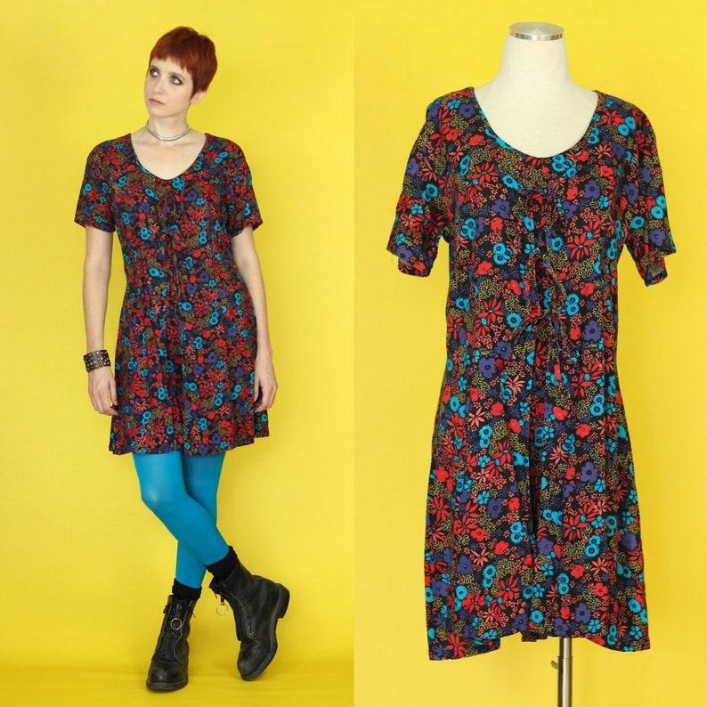 e63ca8d1b22 Vintage 90s Romper - Shorts Jumpsuit - Dark Floral Romper - Tie Front Dress  - Culotte Jumpsuit - 90s Floral Dress Skort - Womens Playsuit