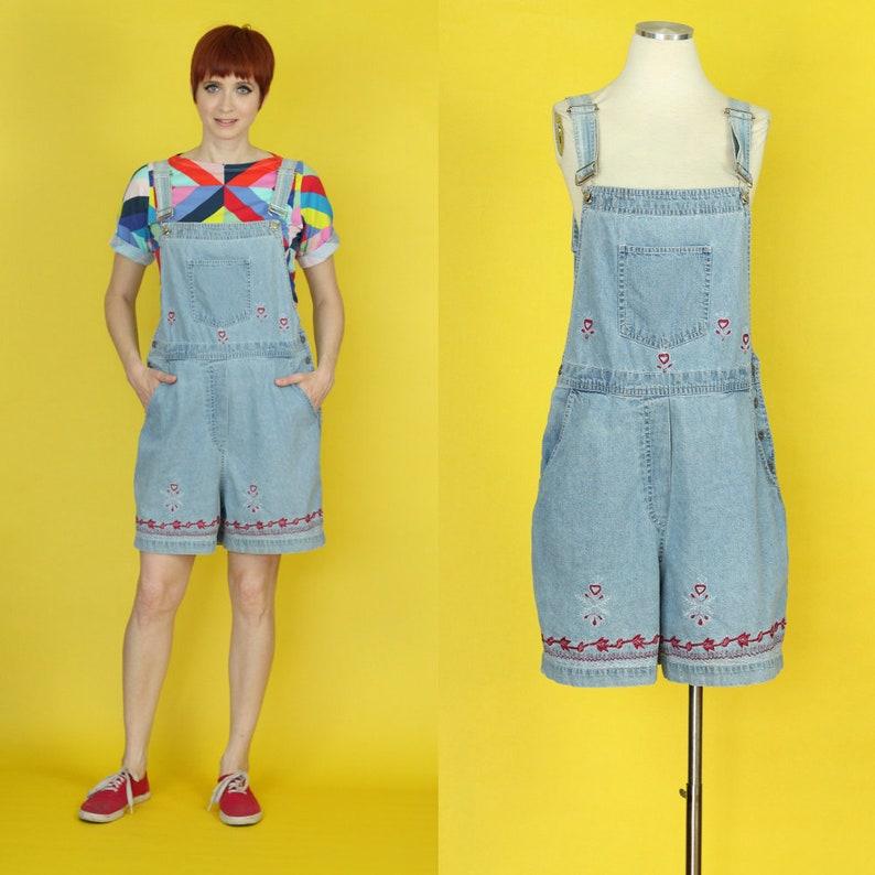 ab8801d3546 Vintage 90s Denim Shortalls Shorts Overalls Jean Shortalls