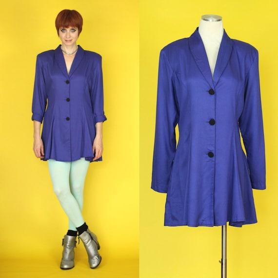 Vintage 80s Blazer Dress - Jacket Dress - Long Bla
