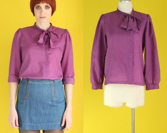 Vintage 80s Bow Blouse - Secretary Blouse - Purple Blouse - Tie Neck Blouse - Long Sleeve Polka Dot Blouse  - Asymmetrical Shirt Size Small