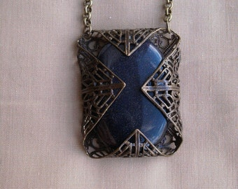 Blue Goldstone Filigree Wrapped Necklace