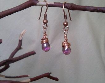 Purple Copper Wire-Wrapped Earrings