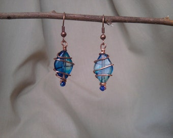 Blue and Copper Wire-Wrapped Earrings