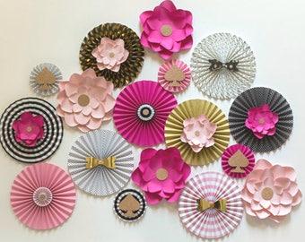 Pink, Black and Gold Paper Fans with 4 Flowers, 17 PC SET, Wedding Decor, Bachelorette Party Decor, Baby Shower Decor