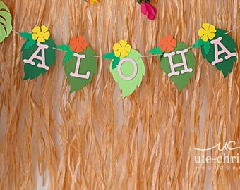 Luau Themed Party Banner, Aloha Banner, Luau Banner, Hawaiian Themed Banner, Greenery, Hibiscus Theme, Aloha Wedding  Baby Shower  Sweet 16