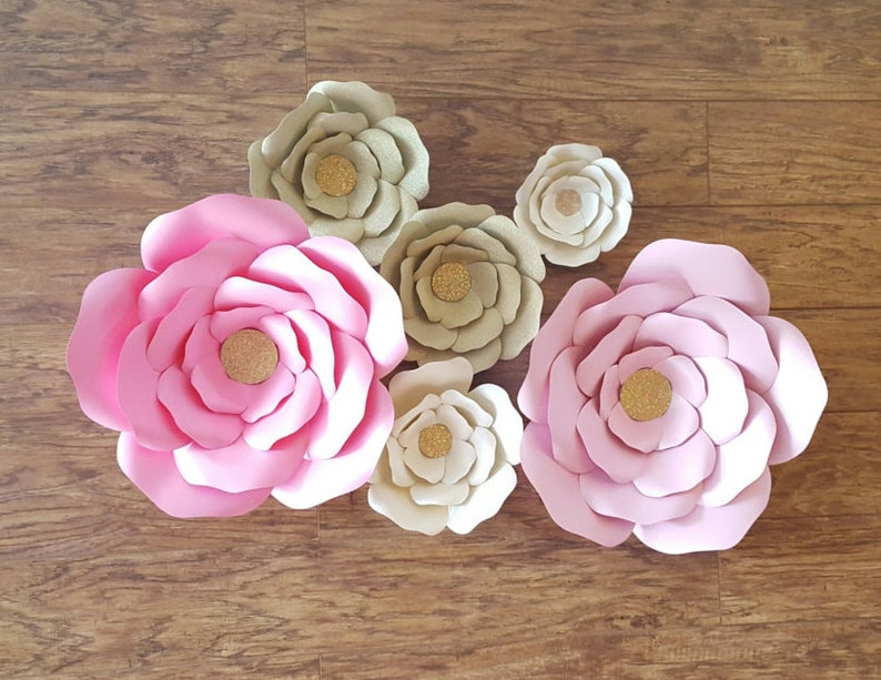 Pink Gold Giant Paper Flowers Backdrop Pink Paper Flower Nursery Decor Wedding Decor Backdrop Photo Backdrops Holiday Christmas Gift