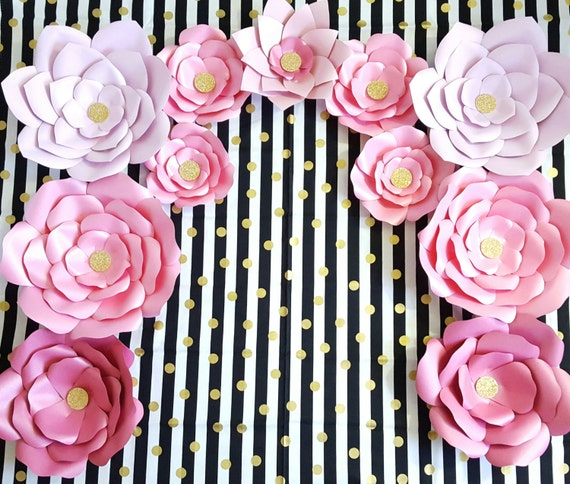 Giant Paper Flowers Pink Gold Paper Flower Backdrop Giant Flower
