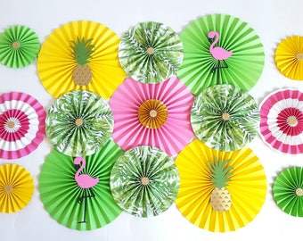 Flamingo and Pineapple Themed Paper Fans Backdrop, Hawaiian Theme Paper Fans Backdrop, Baby Shower Backdrop, Sweet 16, Bachelorette Party