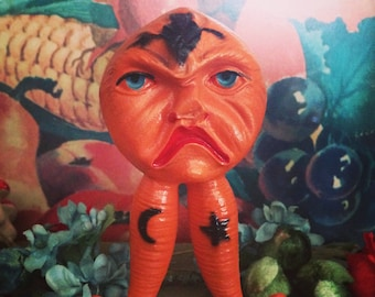 Vintage Halloween RARE Vegetable Harvest Creature Old Celluloid Rattle Early 1900s Viscoloid Toy Halloween Decor Display