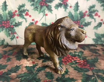 Antique Celluloid Lion Toy Viscoloid Marker Early 1900s Plastic Childs Plaything Toy Christmas Holiday Decor Animal Display Collectible