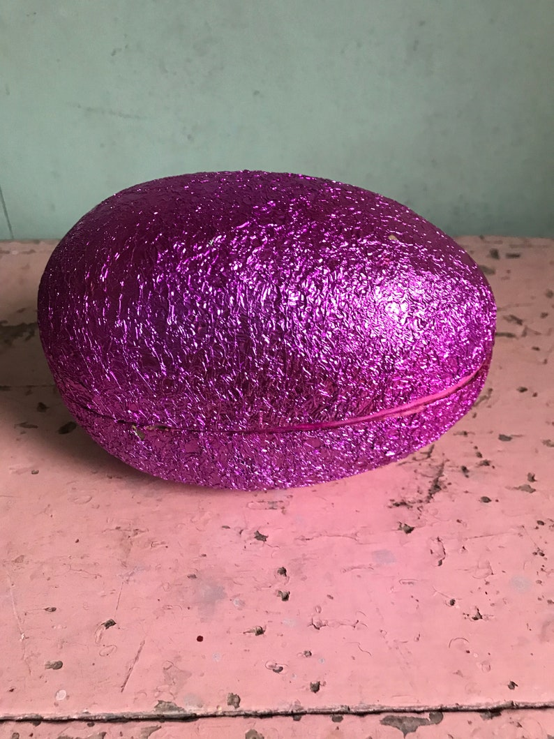 Vintage German Fuchsia Color Shiny LARGE Foil Easter Egg Candy Container Old Collectible Holiday Bunny Rabbit Basket Prop Decor Display