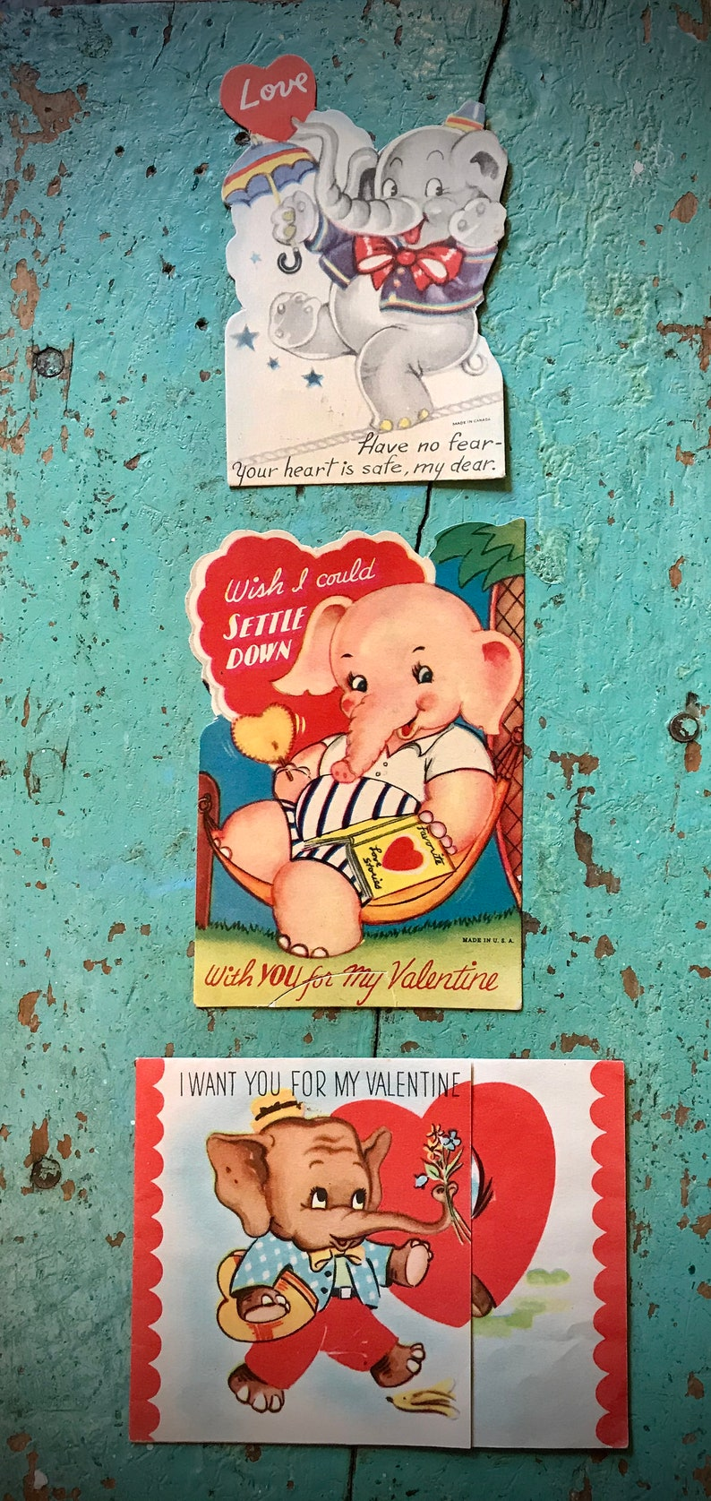 Vintage Valentines Set of 3 Elephants Old Collectible 1950s Era Animals Circus Carnival Red Pink Hearts Decor Display Prop Craft Gift Cards
