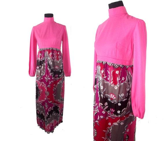 60s Hostess Dress Pink Floral Psychadelic Flower C
