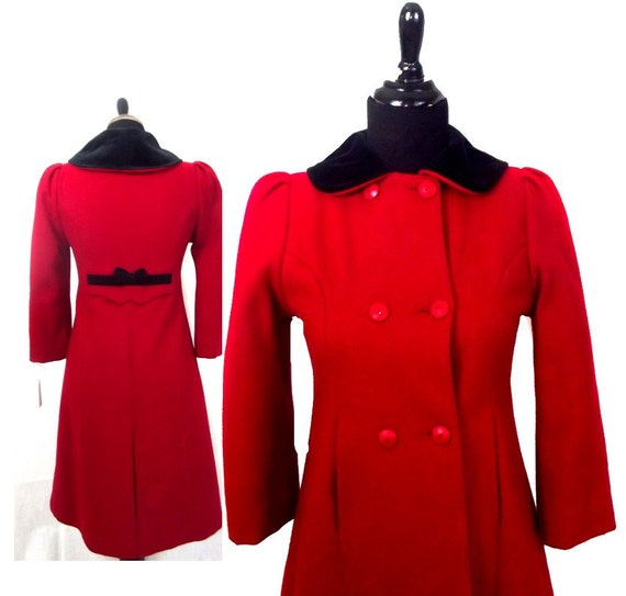 60s Red Peacoat by L'il Miss Bobbie Peter Pan coll