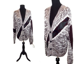 80s Dope Sweater by Jackie Vital Oversized Knit Cardigan with Leather Details XXL