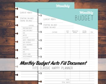 Printable Monthly Budget/Expenses Tracker Auto Fill File Digital Download, Expense planner, Budget Planner, fits Classic Happy Planner