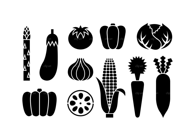 b5d08fc2d35 Vegetable silhouette digital clipart vector eps png files