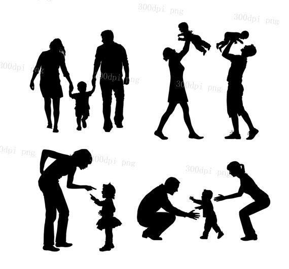 Clipart Famille famille silhouette numérique cliparts vecteur eps png fichiers   etsy
