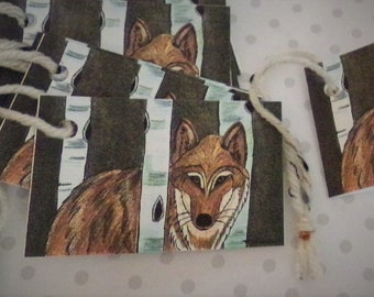 Wolf/ Aspen Trees  / Art/ Gift Tags/ Mini Cards.