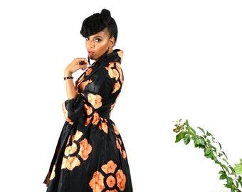 Black Floral African Ankara Wax Print Fabric High Low Wrap Jacket/Dress SM-XL - SALE