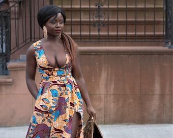 Blue Orange -  African Ankara Wax Print Cut Out Dress