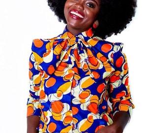 JOY  - African Fabric Neck Tie Top
