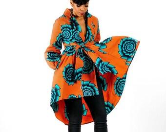 Orange African Ankara Wax Print Fabric High Low Green Wrap Jacket/Dress SM-XL - SALE